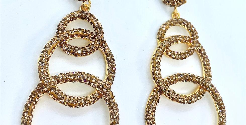 Drop Circle Earrings  Gold