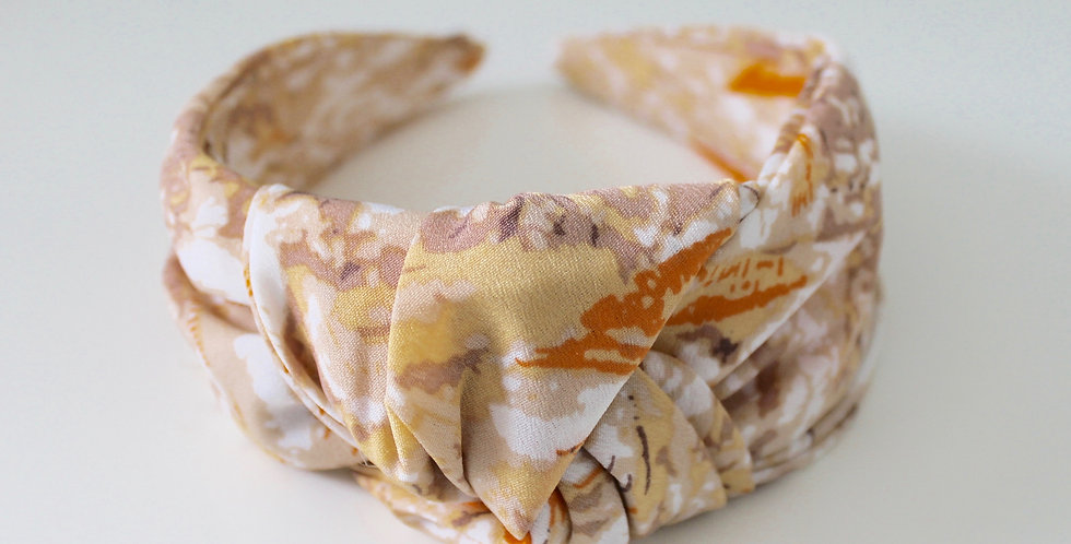 Marble Oversized Knot Headband Yellow / Beige
