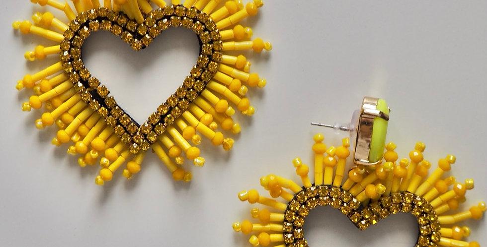Glamorous Love Earrings Yellow