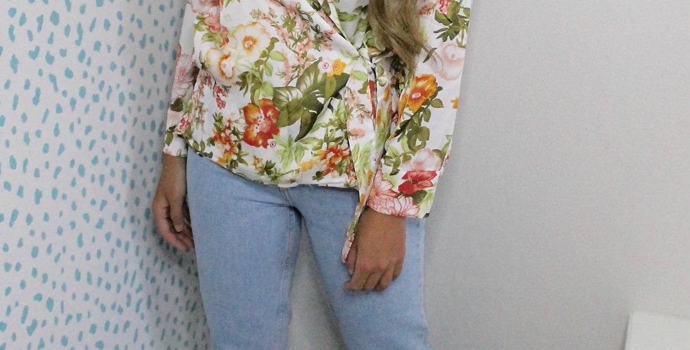 Flora Wrap Shirt Blouse Cream