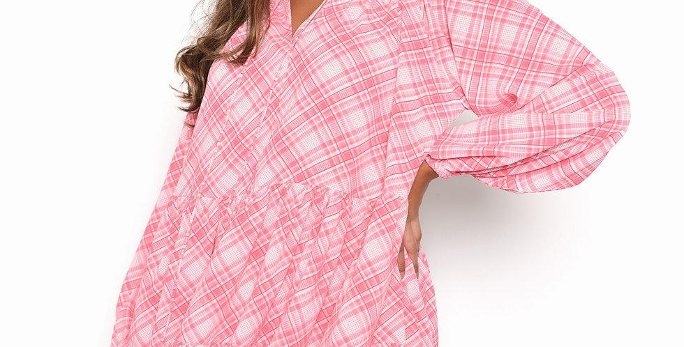 Pink Check Swing Mini Dress