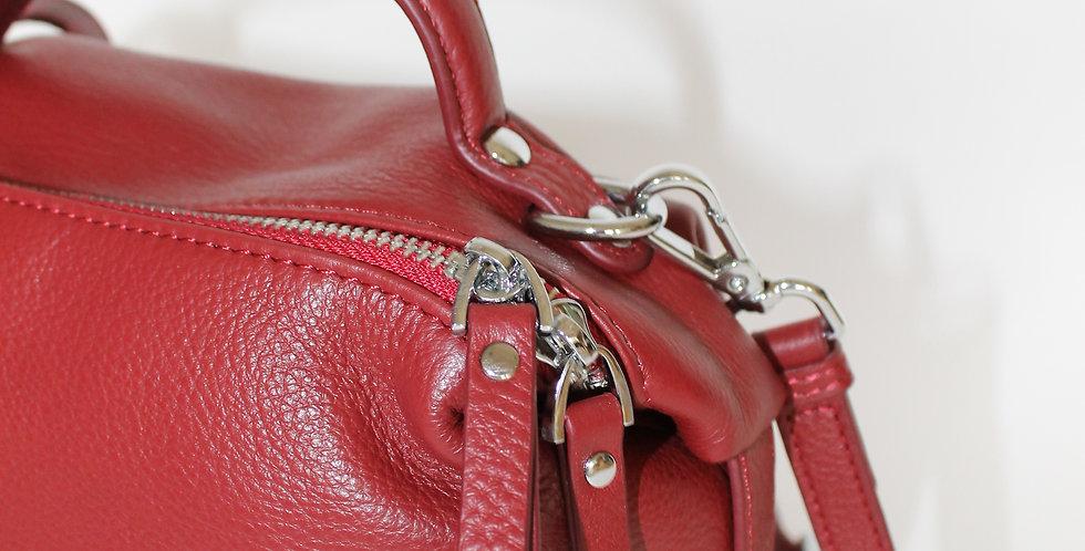 ROKA Leather Cross Body Bag Wine Red