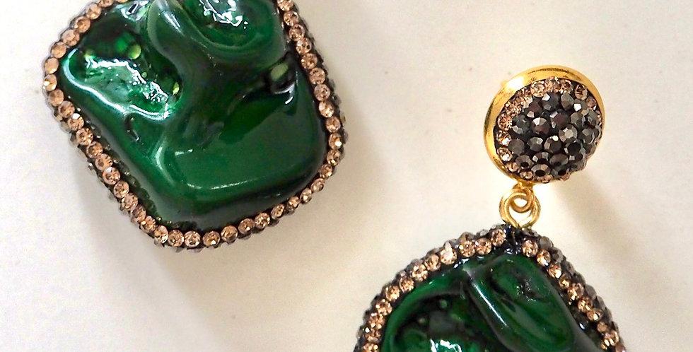 Natural Stone Earrings Dark Green