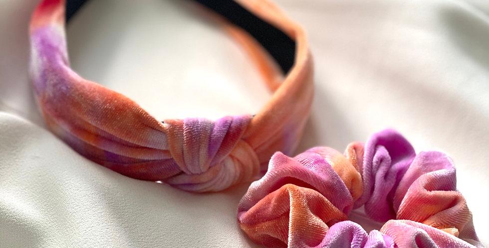 Tie Dye For Velvet Headband & Scrunchie Set Peach and Pink