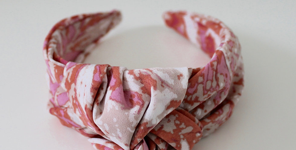Marble Oversized Knot Headband Pink / Red