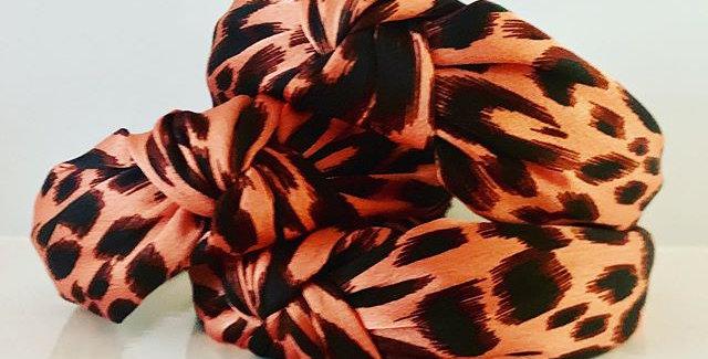 Pink Leopard Knot Headband