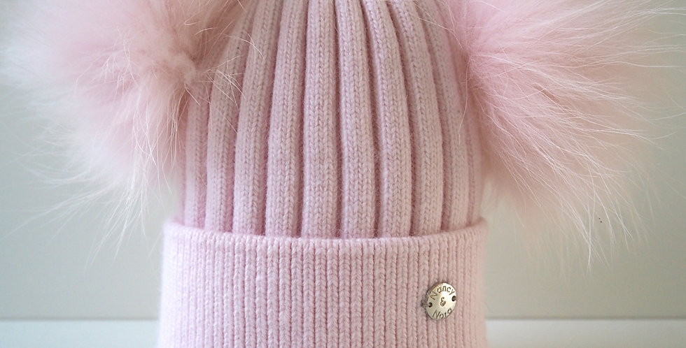 Adults Classic Double Hat Pale Pink- Pre-order dispatch 24th Feb