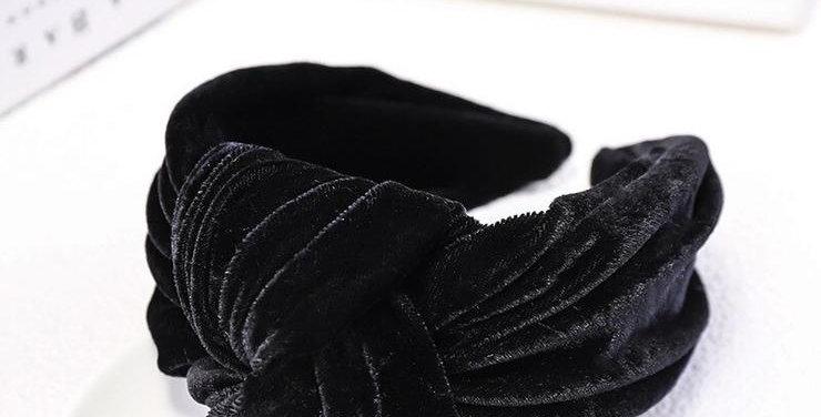 Oversized Velvet Knot Headband Black