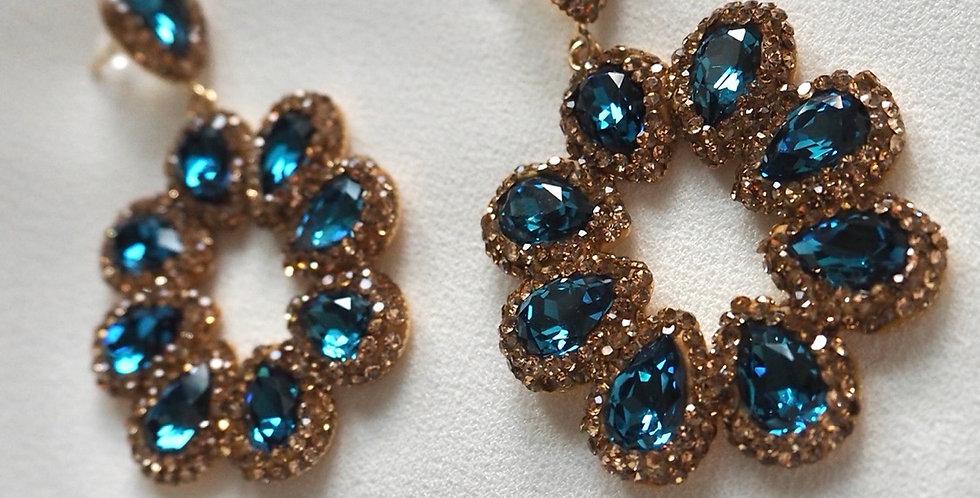 Halo Earrings Ocean Blue