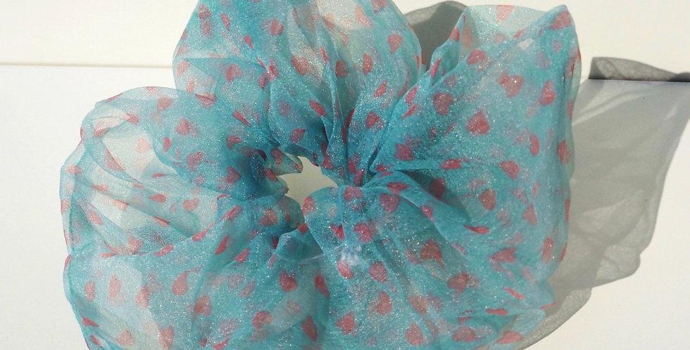 Oversized Scrunchie - Blue Hearts