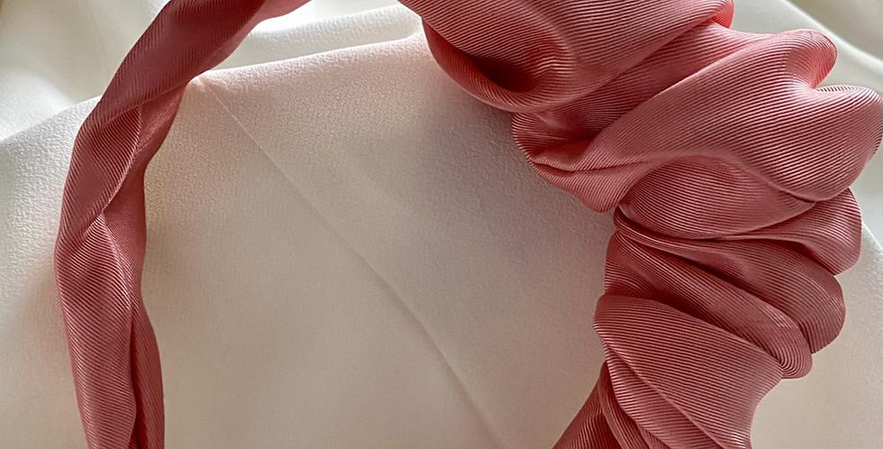 Side Volume Satin Headband Pink