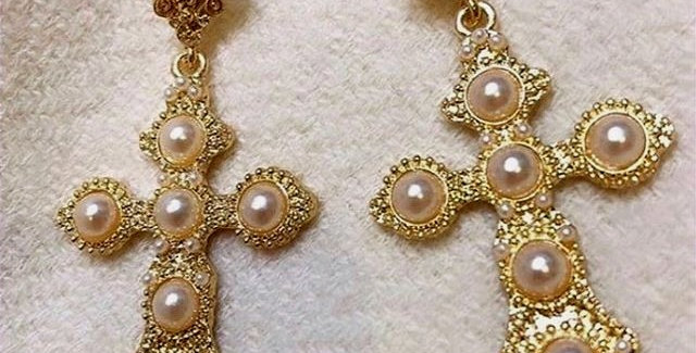 Cross Earrings- Gold and Pearl