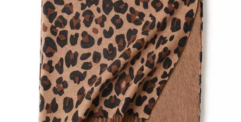 100% Wool Personalised Luxury Scarf Classic Leopard