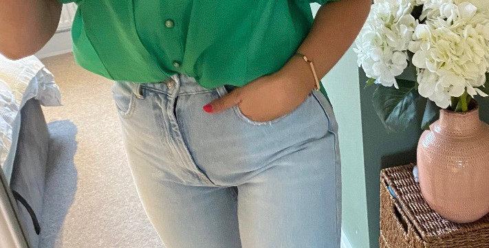 Puff Sleeve Blouse - Green