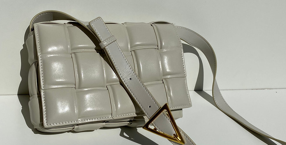 A La Mode Leather Cross Body Bag Ecru
