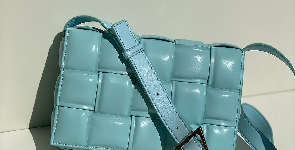 A La Mode Leather Cross Body Bag Sky Blue