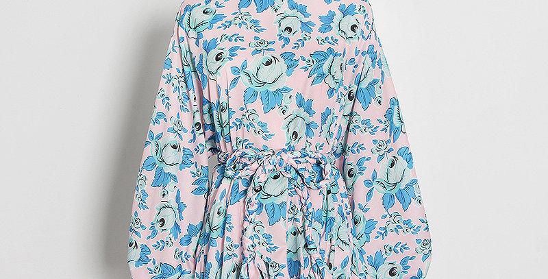 Swing Dress Pink & Blue Roses