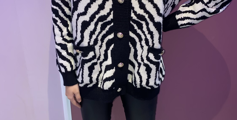 Zebra Cardigan with gold buttons