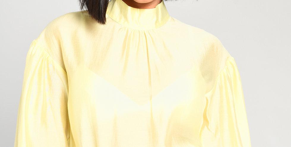 Long Sleeve Sheer Top Lemon Yellow
