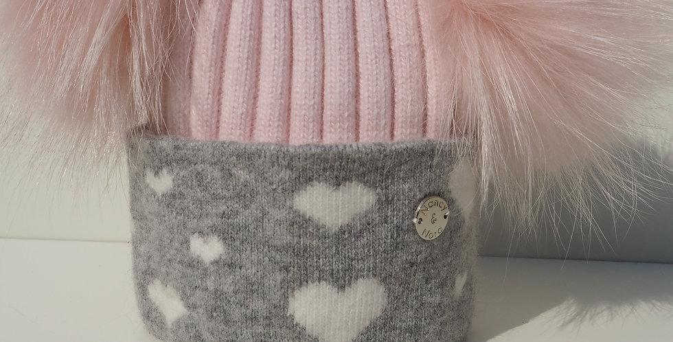 Kids Pale Pink Hearts Double Hat