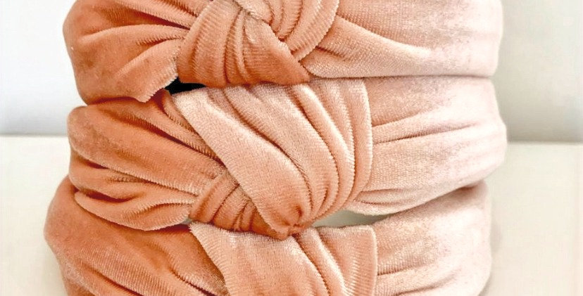 Velvet Knot Headband - Peach