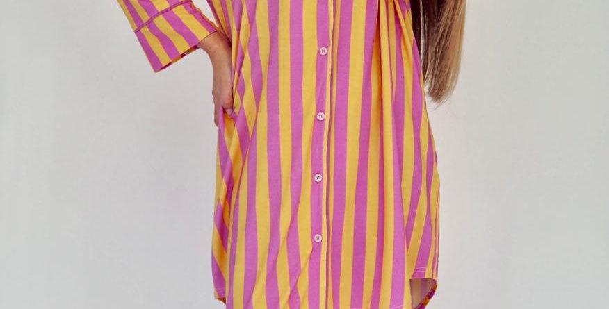 Striped Delights Shirt Pyjama Dress