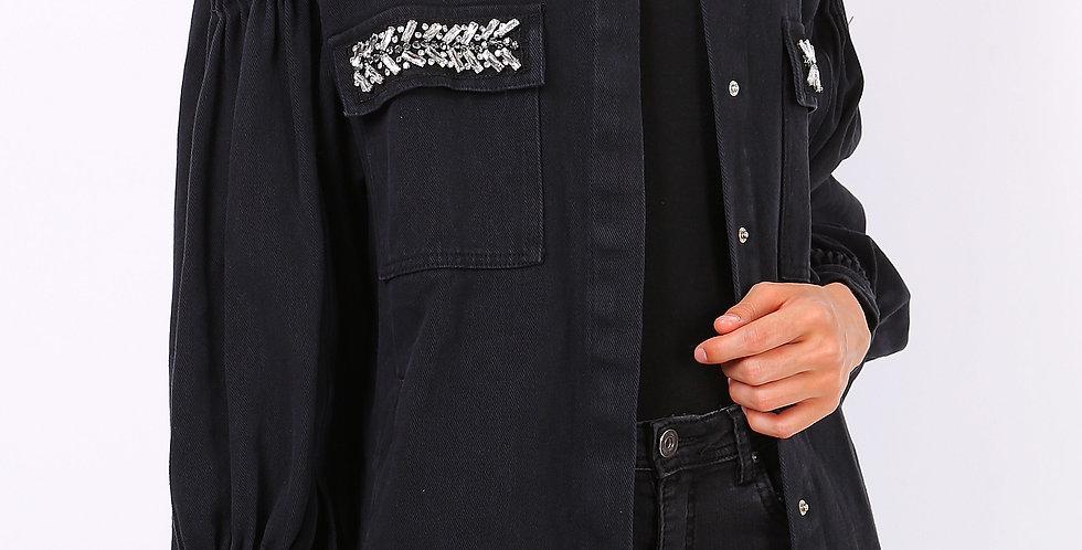 Izzy Denim Balloon Sleeve Jacket Black