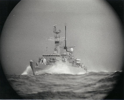 A periscope view of a Royal Navy Type 21 frigate at speed - THEY COME UNSEEN | Concepts