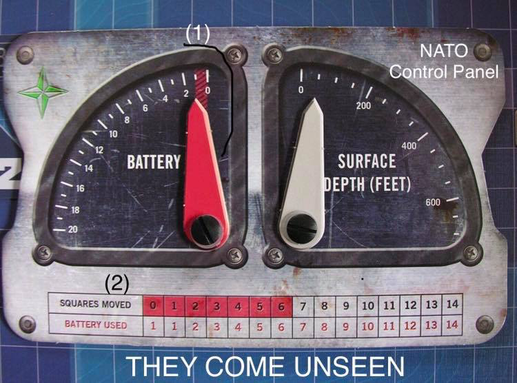 A NATO submarine control panel from the board game THEY COME UNSEEN