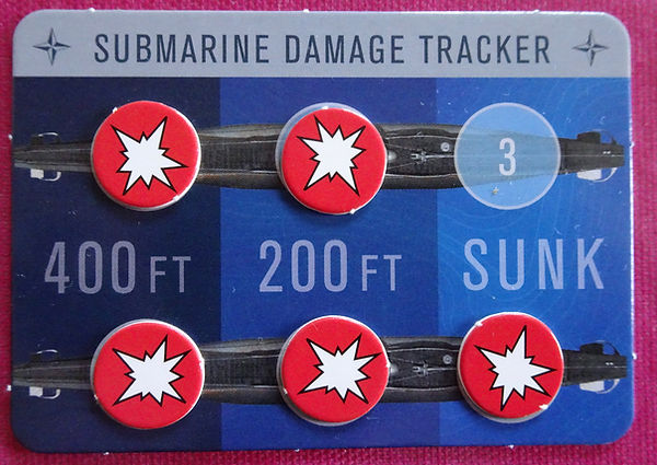 Submarine Damage Tracker from the board game THEY COME UNSEEN