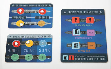 Submarine and destroyer damage tracker cards plus the Soviet Logistic Fleet Manifest Card from the board game THEY COME UNSEEN