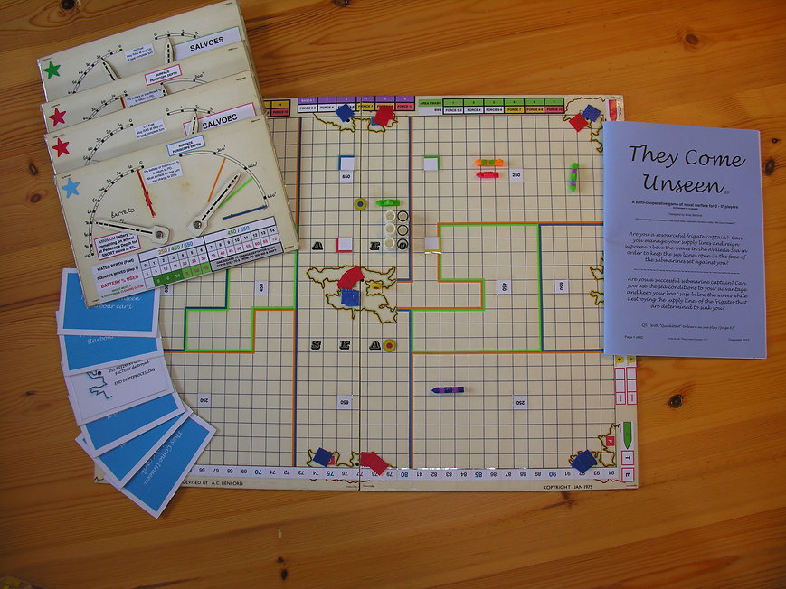 The prototype of the board game THEY COME UNSEEN that was demonstrated at the offices of Osprey Games