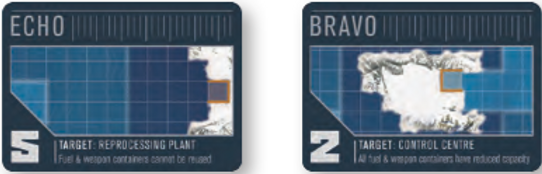 Ice-Station ECHO is vital for the Soviet fleet's survival during a game of THEY COME UNSEEN - it is the only port that can recycle fuel and weapons.  Ice-Station BRAVO is the control centre for the Soviet Navy - keep it safe!