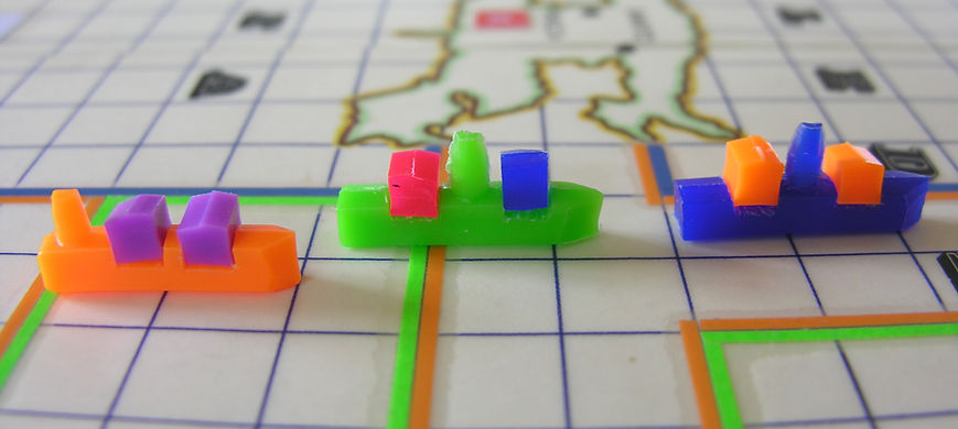 Original playing pieces from the prototype version of the baord game THEY COME UNSEEN