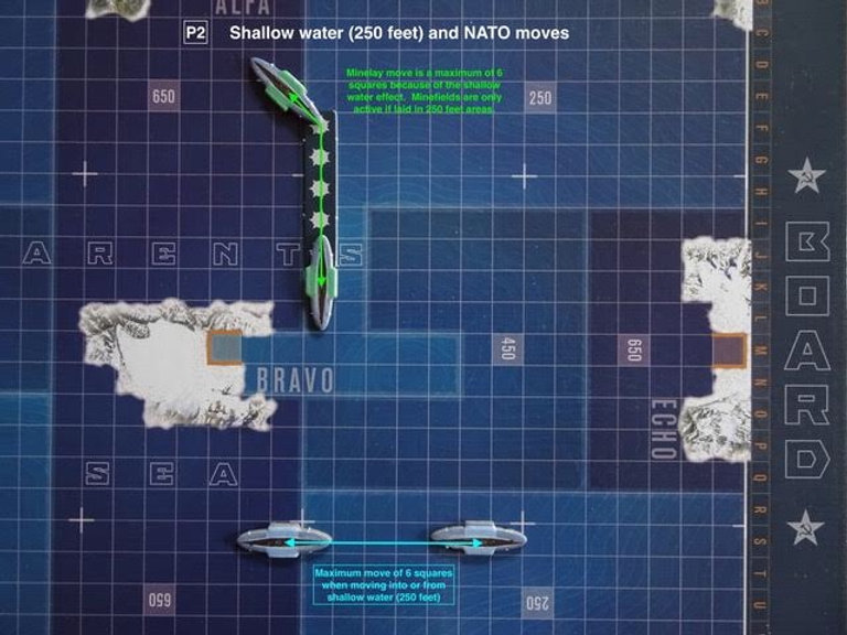 NATO submarines moving through different water depths in the board game THEY COME UNSEEN