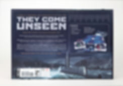 Image of th back of the box of the baord game THEY COME UNSEEN