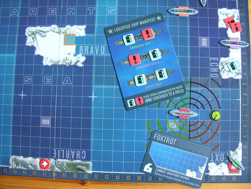 Keeping supplies safe from NATO submarine attacks in the board game THEY COME UNSEEN