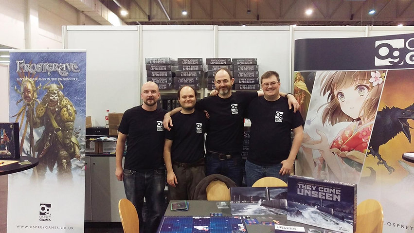 The Osprey Games team at the launch of thebaord game THEY COME UNSEEN at Essen SPIEL in 2015