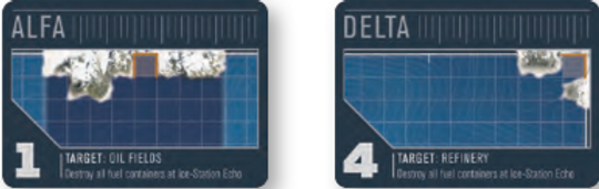 Ice-Stations ALFA and DELTA are involved in fuel processing for the Soviet fleet in the board game THEY COME UNSEEN
