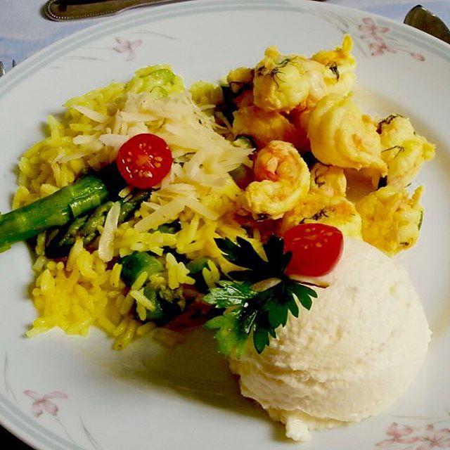 Lagostim com Arroz de Aspargos e Sour Cream #foodporn #food