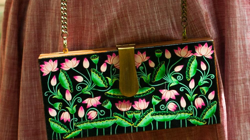 Hand Painted Wooden Clutch (Flower)