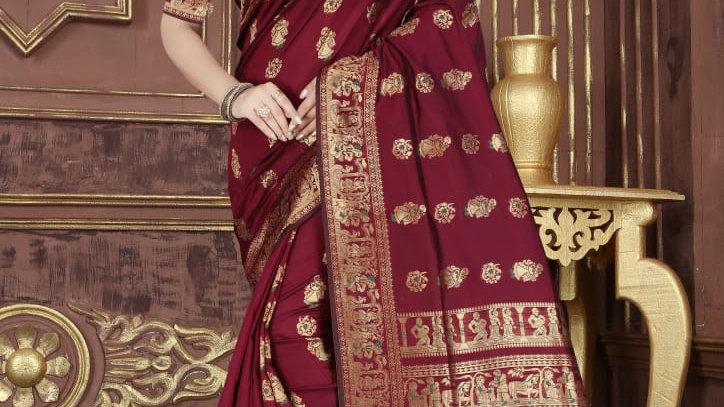 Fabric Pure Banarasi Saree (Golden Red)