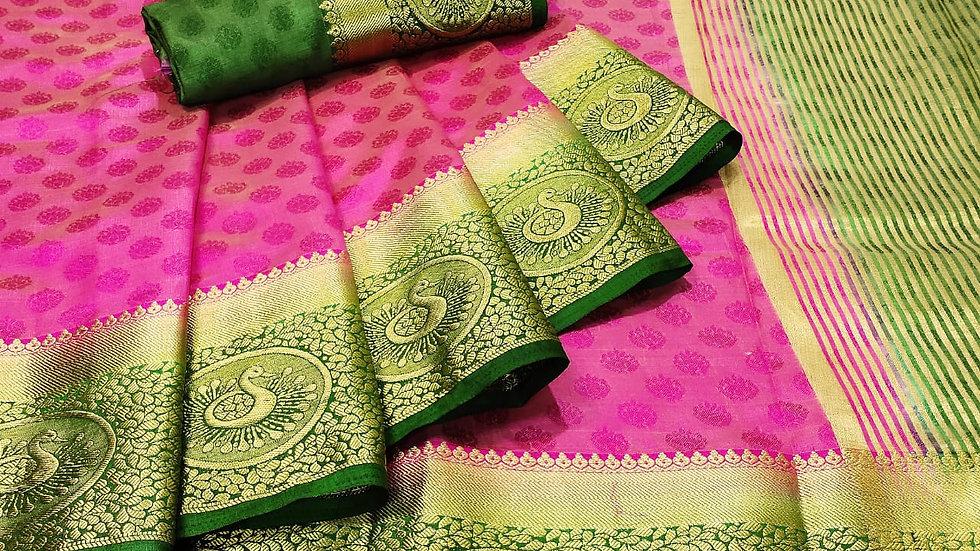 Kanjivaram  Flower Peacock Tussar Silk