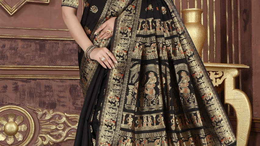 Fabric Pure Banarasi Saree (Black)
