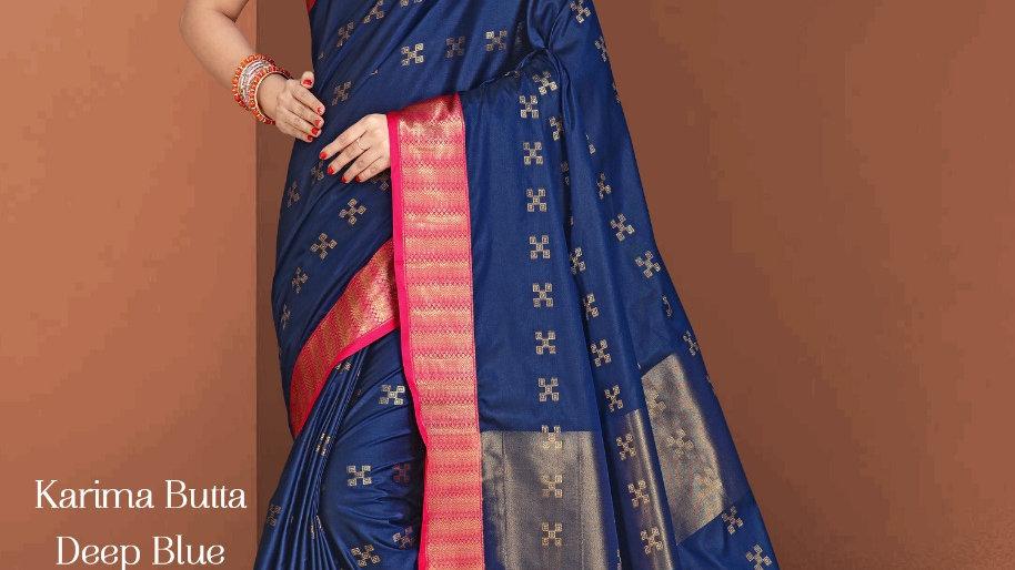 Fabric Pure Banarasi Saree (Deep Blue)
