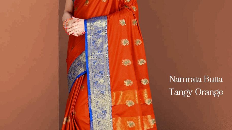Fabric Pure Banarasi Saree (Tangy Orange)