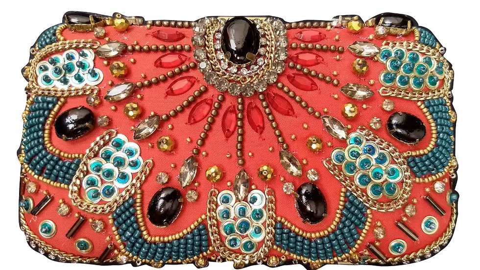 Silk Beaded Clutch