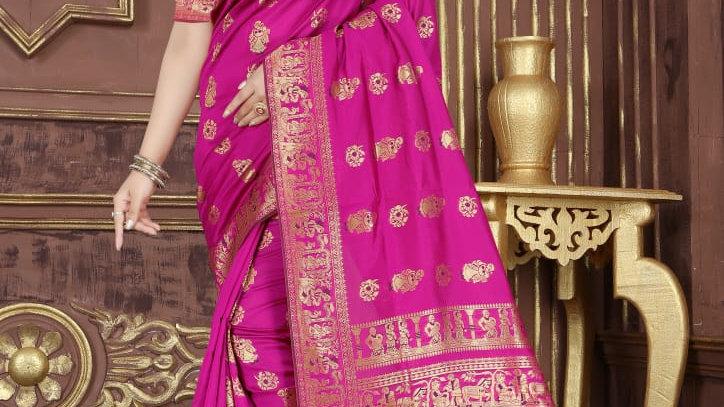 Fabric Pure Banarasi Saree (Pink)