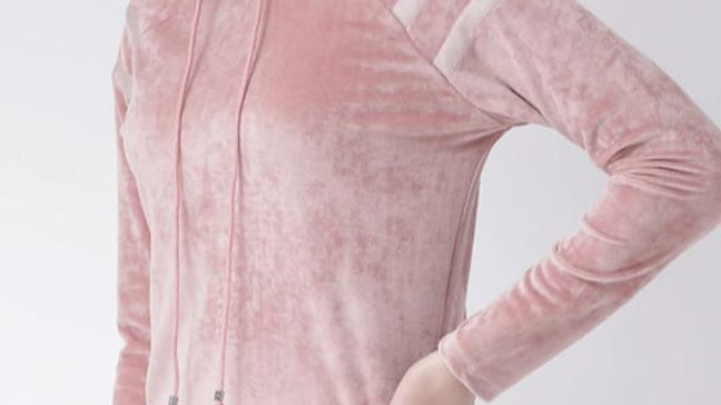 Women pink solid knitted hooded top