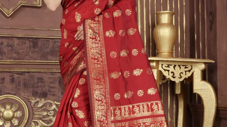 Fabric Pure Banarasi Saree (Red)